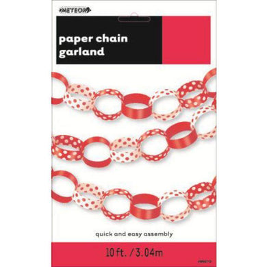 Ruby Red Dots Paper Chain - 3m - The Base Warehouse