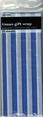 10 Pack Royal Blue Stripes Tissue Sheets - 51cm x 66cm - The Base Warehouse