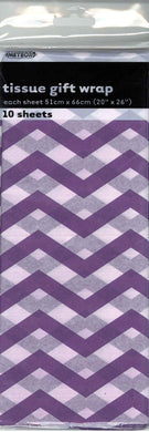 10 Pack Pretty Purple Chevron Tissue Sheets - 51cm x 66cm - The Base Warehouse