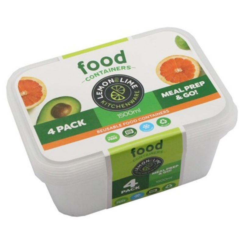 4 Pack Reusable Food Containers - 1.5L