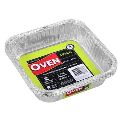5 Pack Square Foil Tray - 20cm x 20cm x 4.5cm - The Base Warehouse