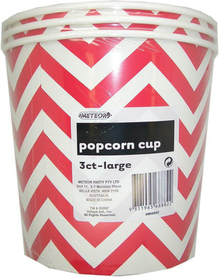 3 Pack Ruby Red Chevron Paper Popcorn Cups 2.5L - 16cm x 18cm - The Base Warehouse