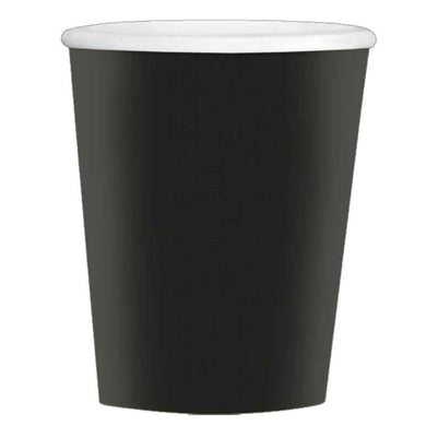 40 Pack Jet Black Paper Coffee Cups - 354ml - The Base Warehouse