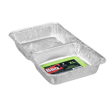 XL 2 Section Foil Tray - 52.5cm x 32.5cm x 7.5cm - The Base Warehouse
