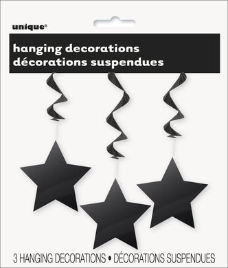 3 Pack Midnight Black Star Hanging Swirl Decorations - 90cm - The Base Warehouse