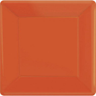 20 Pack Orange Square Paper Plates - 26cm - The Base Warehouse