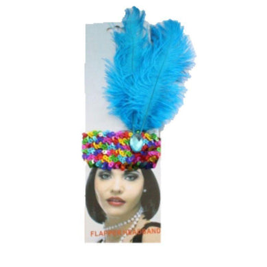 Adult Rainbow Sequin Headband with Turquoise Crystal and Feathers - The Base Warehouse