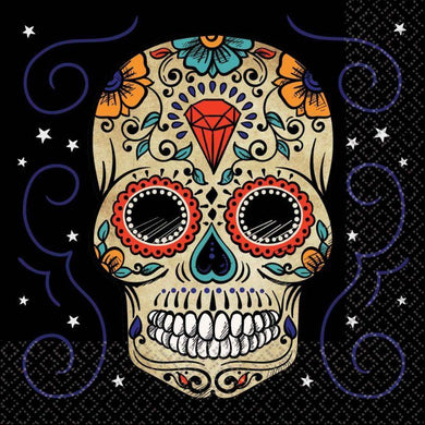 36 Pack Sugar Skull Lunch Napkins - 33cm - The Base Warehouse