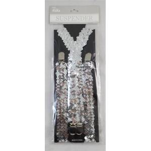 70CM SEQUIN SUSPENDERS SILVER - The Base Warehouse