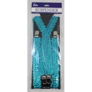 70CM SEQUIN SUSPENDERS BLUE - The Base Warehouse