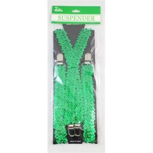 70CM SEQUIN SUSPENDERS GREEN - The Base Warehouse