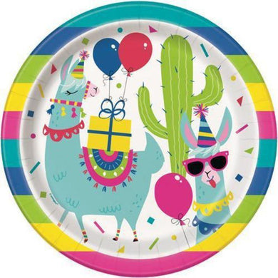 8 Pack Llama Birthday Paper Plates - 23cm - The Base Warehouse
