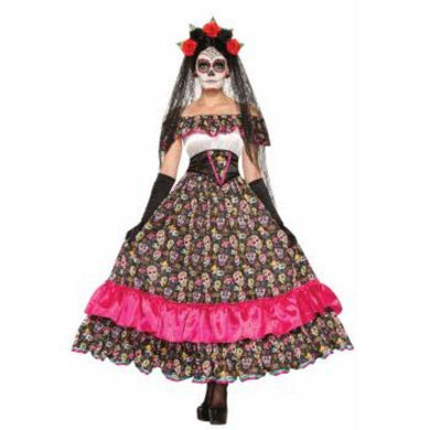 Womens Day Of The Dead Spanish Lady Costume - std - The Base Warehouse
