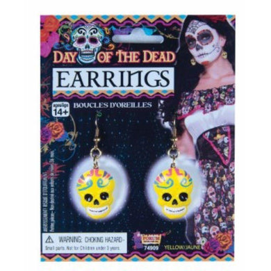 Day Of The Dead Yellow Skull Earrings - The Base Warehouse