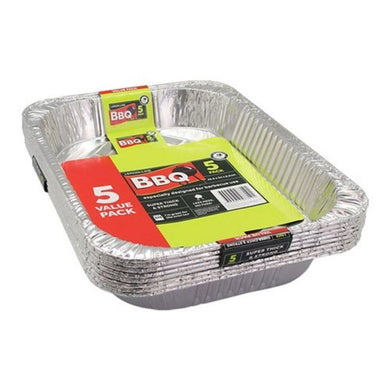 5 Pack Large Foil Tray - 45.5cm x 34cm x 6.5cm - The Base Warehouse