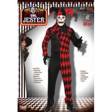 Mens Evil Jester Costume with Mask - std - The Base Warehouse