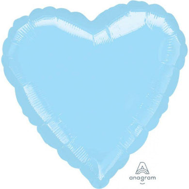 Metallic Pastel Pearl Blue Heart Foil Balloon - 45cm - The Base Warehouse