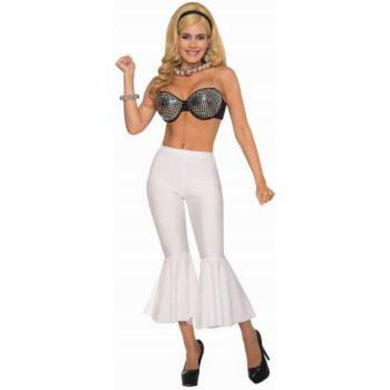 Womens White Disco Crop Bell Bottoms - The Base Warehouse