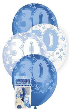 6 Pack 30th Glitz Blue Latex Balloons - 30cm - The Base Warehouse