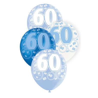 6 Pack Glitz Blue Numeral 60 Latex Balloons - Mixed Pack - 30cm - The Base Warehouse