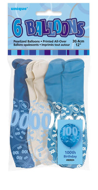 6 Pack Glitz Blue Numeral 100 Latex Balloons - Mixed Pack - 30cm - The Base Warehouse