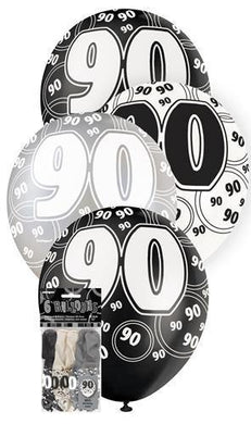 6 Pack 90th Glitz Black Latex Balloons - 30cm - The Base Warehouse