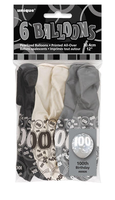 6 Pack Glitz Black Numeral 100 Latex Balloons Mixed Pack - 30cm - The Base Warehouse