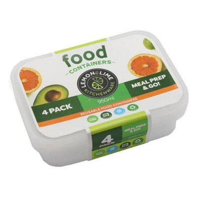 4 Pack Reusable Food Containers - 950ml - The Base Warehouse