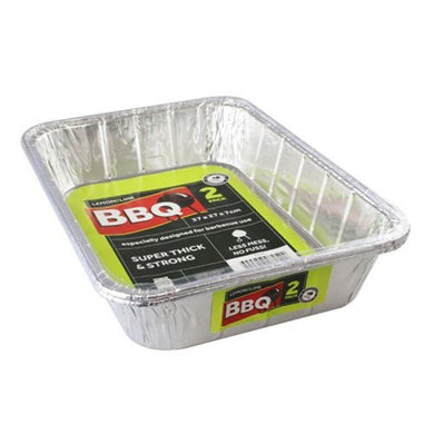 2 Pack Foil Tray - 37cm x 27cm x 7cm - The Base Warehouse