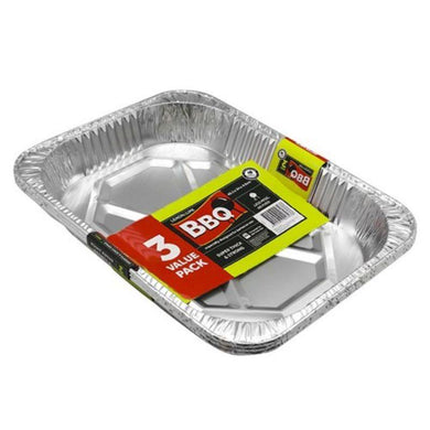 3 Pack Large Foil Baking Tray - 45.5cm x 34cm x 6.5cm - The Base Warehouse