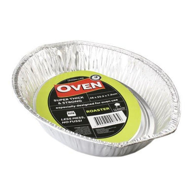 4 Pack Large Oval Foil Tray - 46cm x 34.5cm x 7.5cm - The Base Warehouse