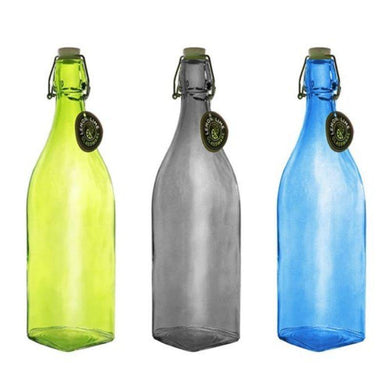 Coloured Glass Water Bottle 1L - 32.5cm x 8cm - The Base Warehouse