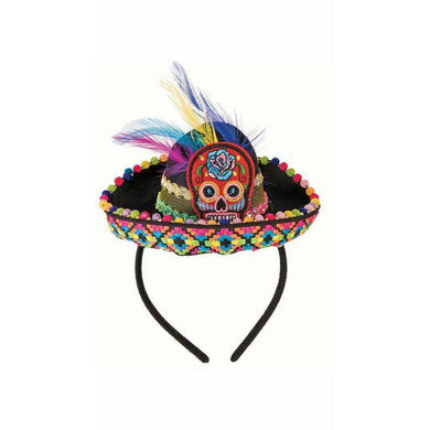 Day of the Dead Mini Sombrero Hat on Headband - The Base Warehouse