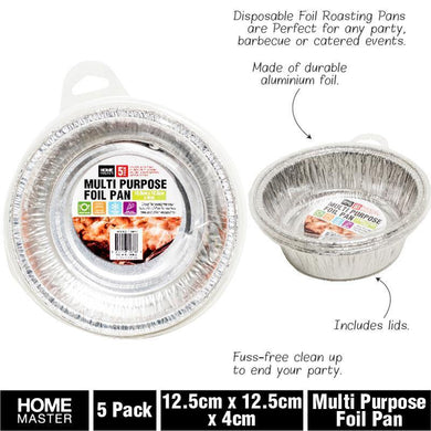 5 Pack Round Foil Tray - 12.5cm x 12.5cm x 4cm - The Base Warehouse