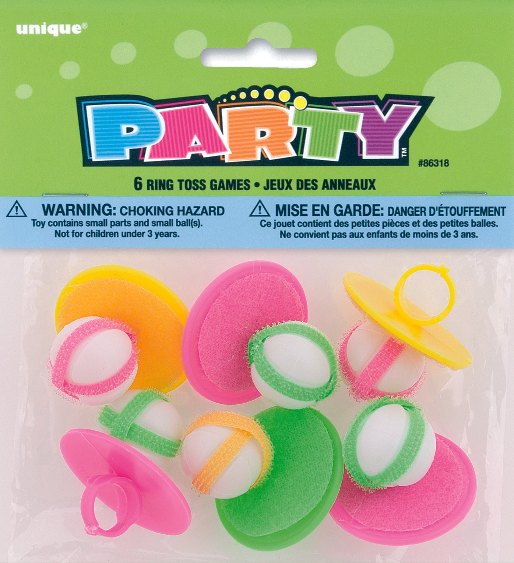 6 Pack Mini Ring & Ball Game with Velcro
