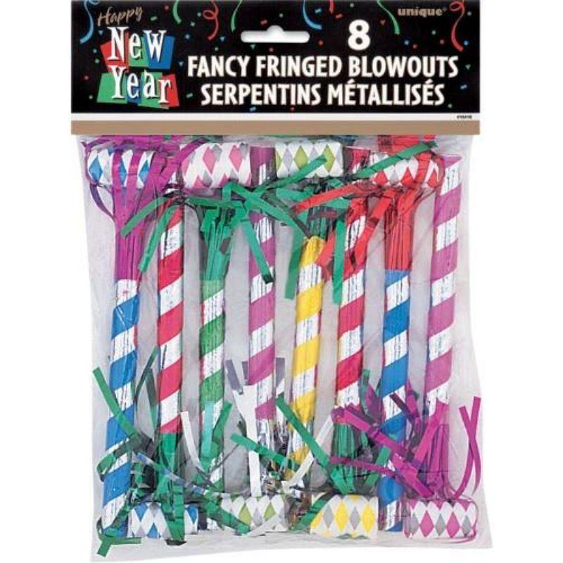 8 Pack New Year Fringed Stripe Blowouts