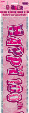 Glitz Pink Happy 100th Birthday Foil Banner - 3.6m - The Base Warehouse