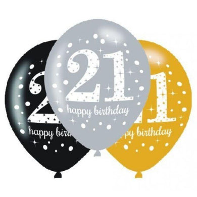 6 Pack Sparkling Celebration 21 Latex Balloons - 30cm - The Base Warehouse