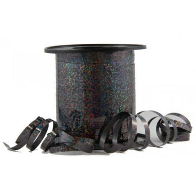 Holographic Black Curling Ribbon - 225m - The Base Warehouse