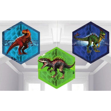 3 Pack Jurassic World Tissue & Printed Paper Honeycomb Decorations - 17.7cm - The Base Warehouse