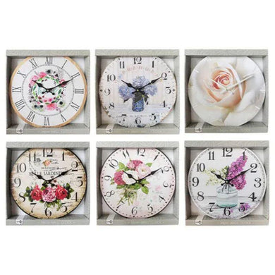 MDF Floral Printed Clock - 34cm - The Base Warehouse