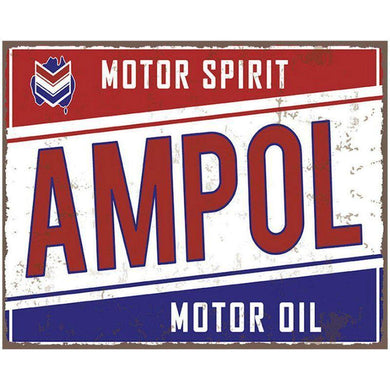 Ampol Motor Oil Glass Plaque Sign - 25cm x 20cm - The Base Warehouse