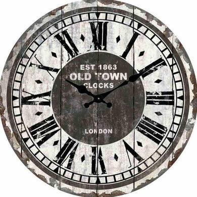 Round Old Town London 1863 Clock - 30cm - The Base Warehouse
