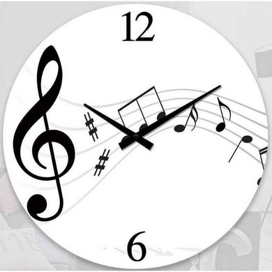 Round Music Notes Clock - 30cm - The Base Warehouse