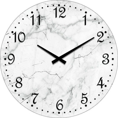 Round Marble White Clock - 30cm - The Base Warehouse