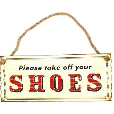 Please Take Off Your Shoes Plaque Sign - 31cm x 13cm - The Base Warehouse