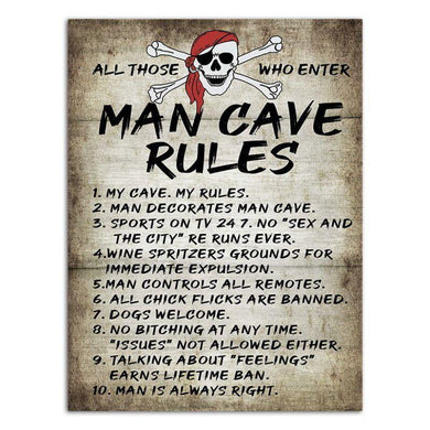 Man Cave Rules Garage Sign - 30cm x 40cm - The Base Warehouse