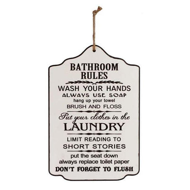 Bathroom Rules Plaque Sign - 25cm x 17cm - The Base Warehouse