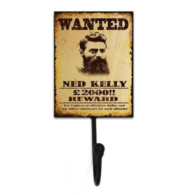 Single Hook Ned Kelly Wanted Garage Sign - 20cm x 9cm x 7cm - The Base Warehouse