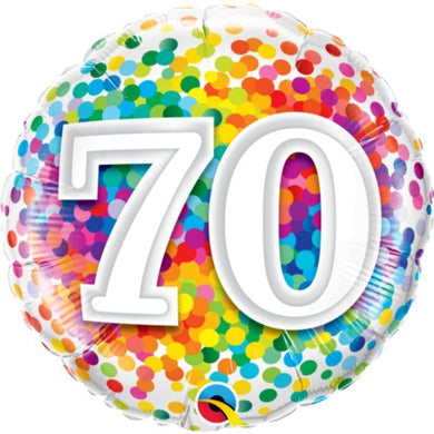 70 Rainbow Confetti Round Foil Balloon - 45cm - The Base Warehouse
